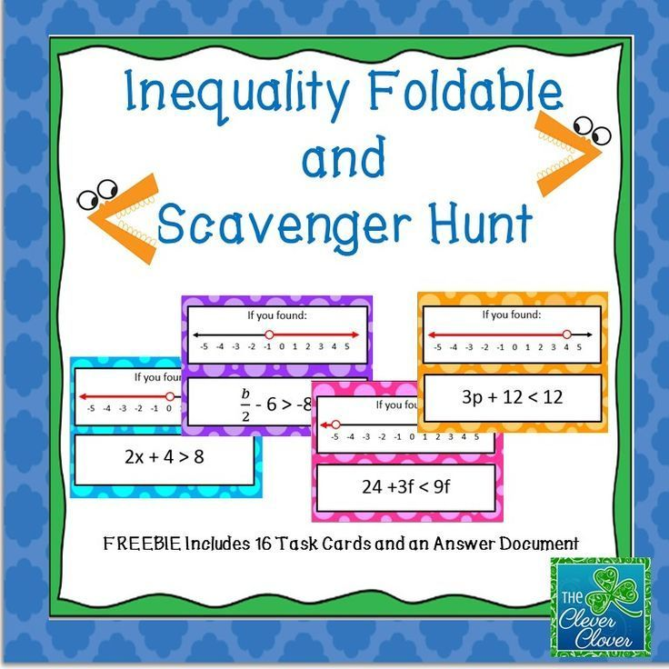 Solving And Graphing Inequalities Foldable And Scavenger Hunt Graphing Inequalities Sixth Grade Math Middle School Math