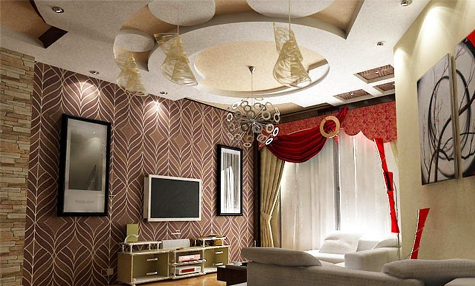 Beautiful Gypsum Ceiling Design For Living Room With Lighting 2015