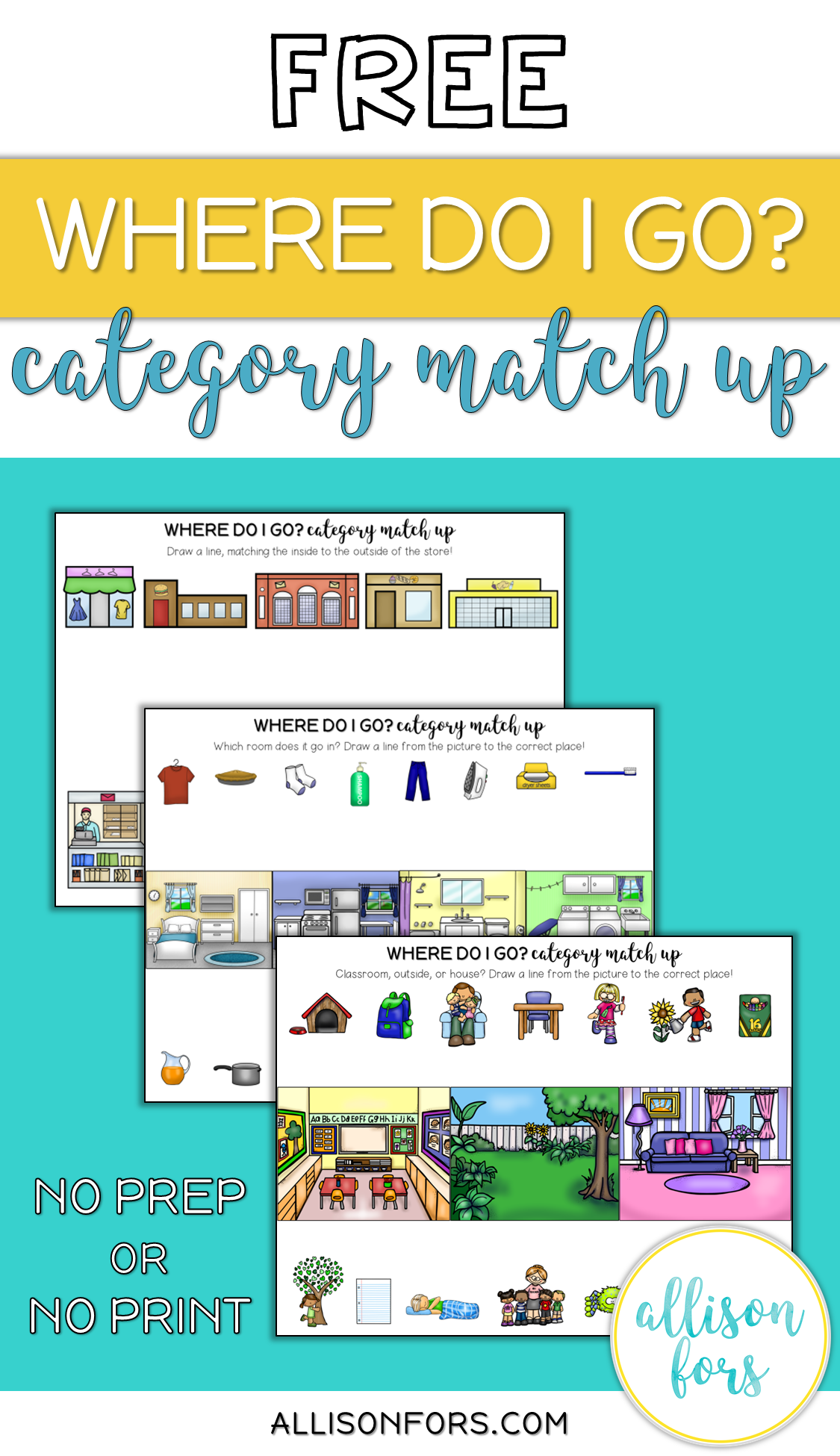Free Category Match Up Worksheets Speech Therapy