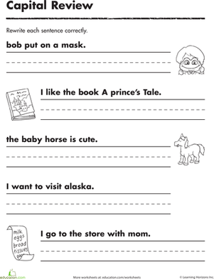 Practicing Capitals | Classroom Tools | Writing sentences worksheets ...