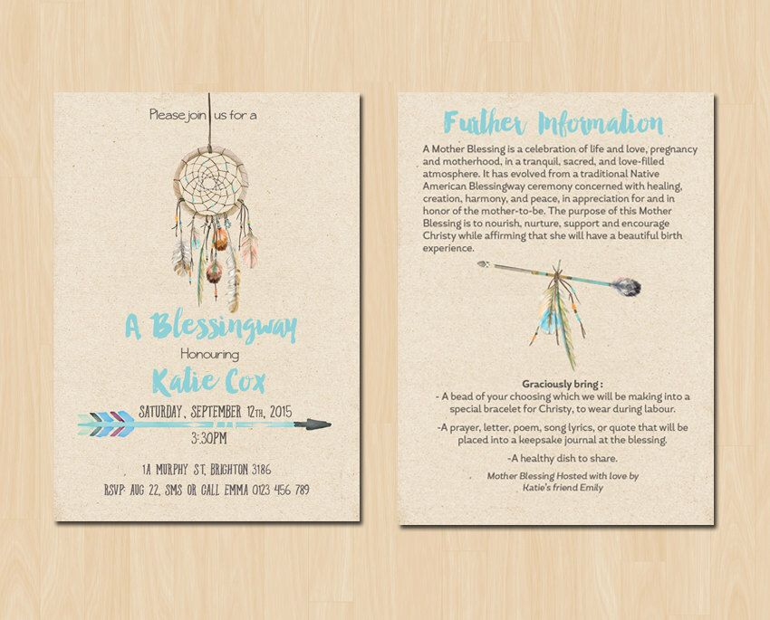 Dream Catcher Blessingway Invitation Mother Blessing Invitation