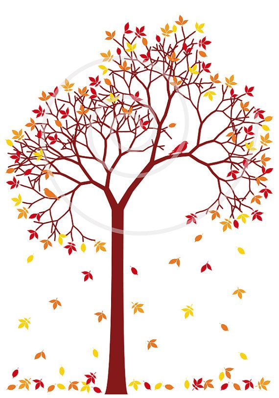 Autumn Tree With Colorful Falling Leaves And Birds Digital Etsy Tree Illustration Autumn Trees Tree Art