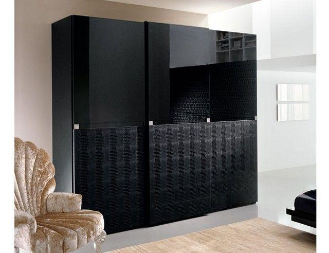 Amazing Modern Black Bedroom Wardrobe Cabinets Design Ideas