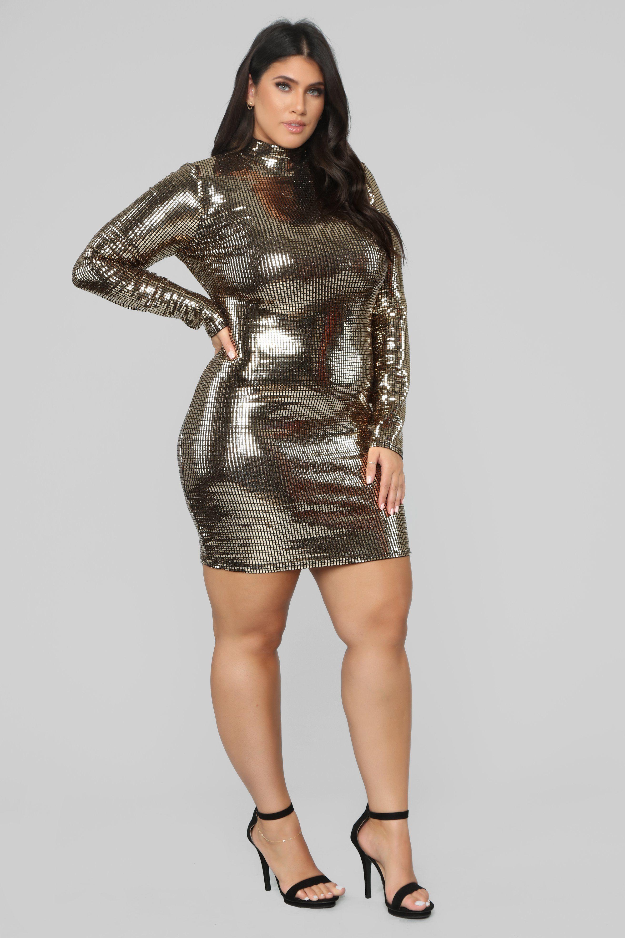 The Glow Up Metallic Dress Gold Metallic dress, Gold