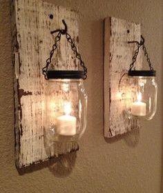 rustic barn wood mason jar candle holders set of 2 wandkerzenhalter diy deko und deko. Black Bedroom Furniture Sets. Home Design Ideas