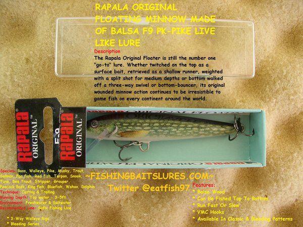 RAPALA ORIGINAL FLOATING MINNOW MADE OF BALSA F9 PK-PIKE LIVE LIKE LURE http://fishingbaitslures.com/products/rapala-original-floating-minnow-made-of-balsa-f9-pk-pike-live-like-lure