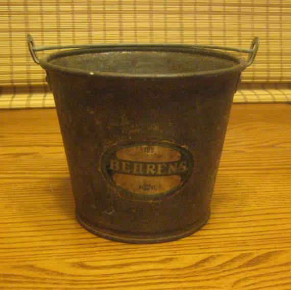 Small metal Behrens dairy or berry bucket by BlackCatsVintageVice, $14.99