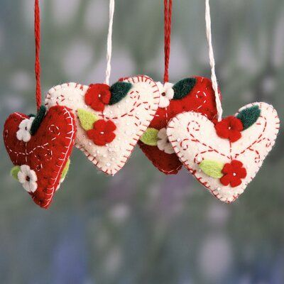 Felt Heart Holiday Shaped Ornament Felt Ornaments Christmas Ornaments Homemade Christmas Hearts