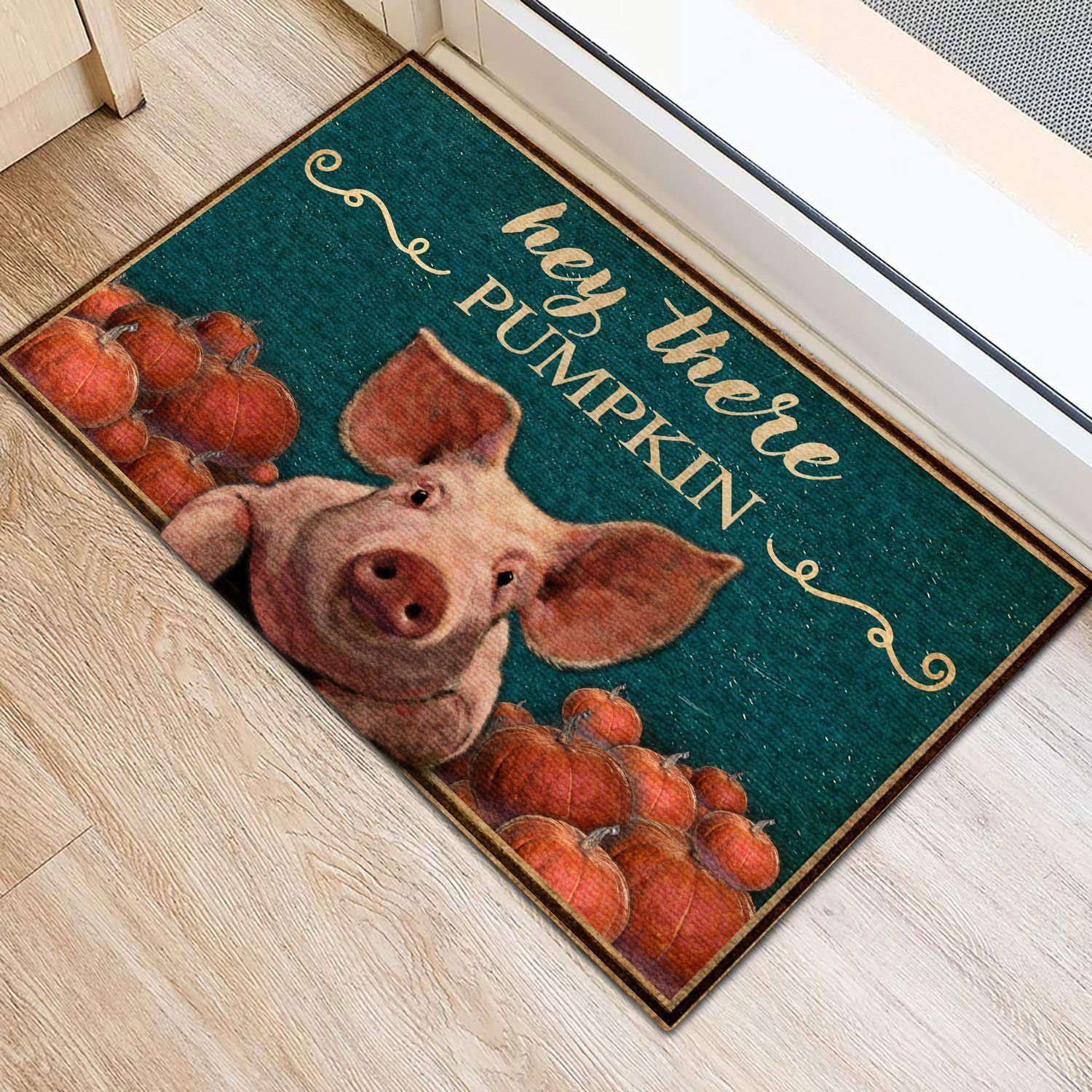 Hey There Pumpkin Pig Doormat   Welcome Mat   House Warming Gift - 30 x 18 Inches