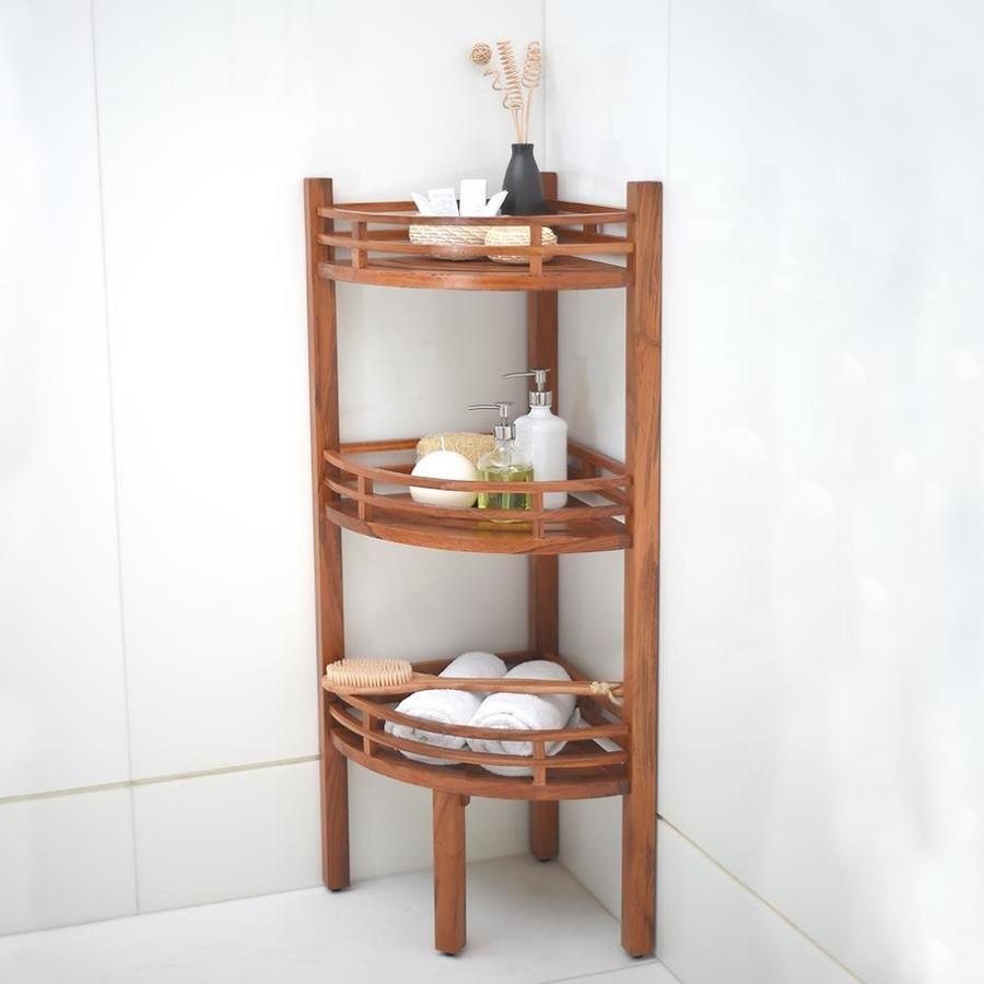 Cambridge Casual Estate Teak 3 Tier Corner Bathroom Shelf Lowes Com In 2020 Shelves Corner Shelves Bathroom Corner Shelf
