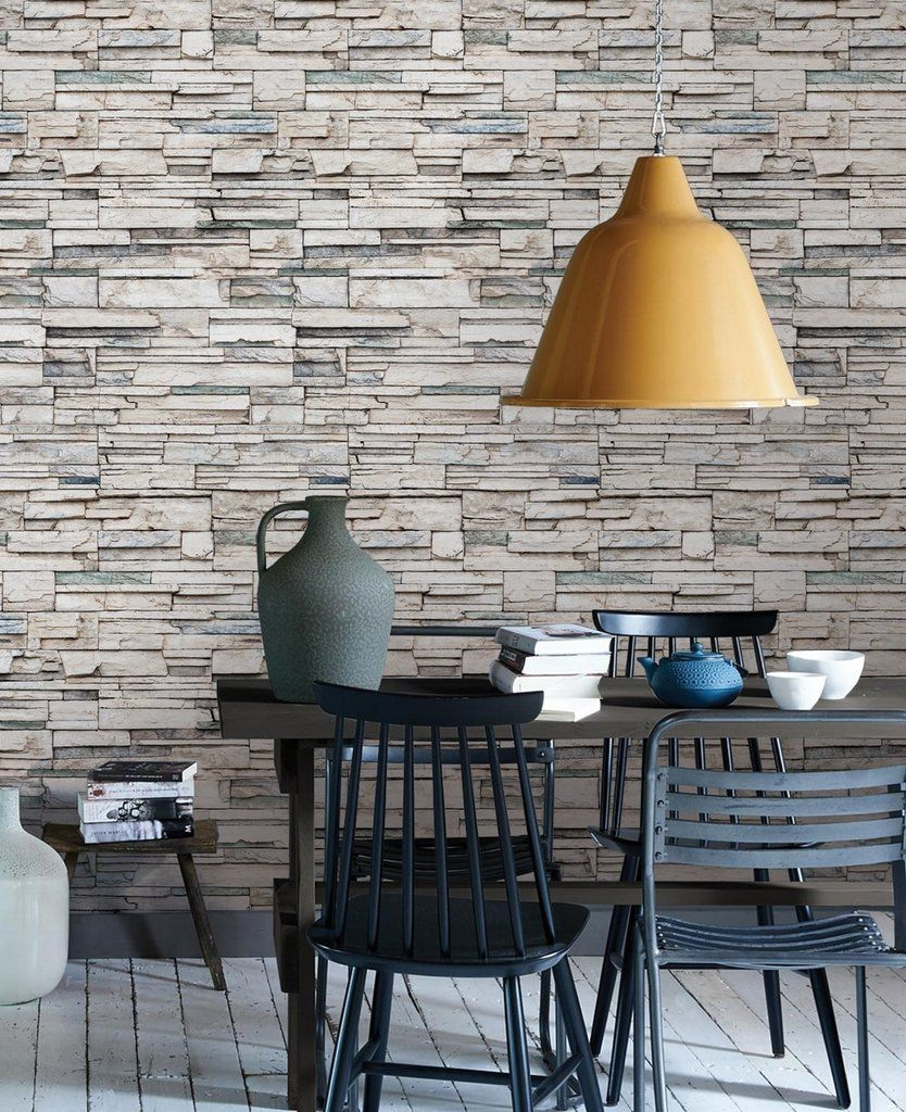 Faux stone peel stick fabric wallpaper get the look of stacked stone cultured stone veneer stone and real stone using our faux stone wallpaper this re
