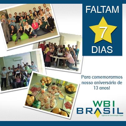 #WBIBrasil13anos.   A contagem regressiva para o nosso 13º aniversário está aberta!   É dia 01 de agosto de 2013.