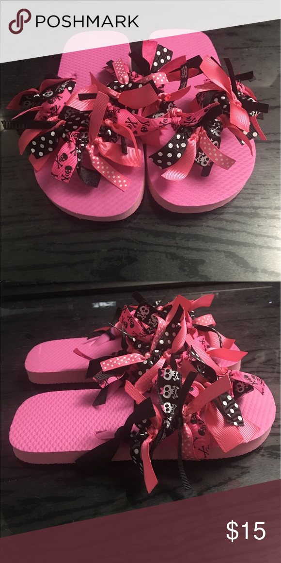 9030f4a87cf6b Little Girls Skull Ribbon Flip Flops Size 13 1 Ribbon Style Flip Flops Size  13 1 handmade by me available in other sizes