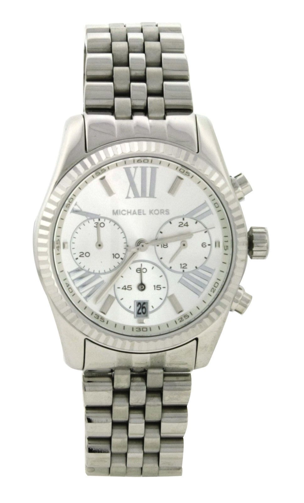 695a3f1ffe91 Michael Kors MK 5555 Lexington Silver Chronograph Stainless Steel Women s  Watch