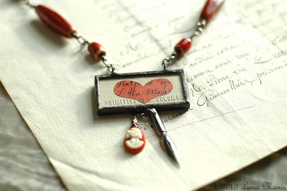 Love Letters Red Statement Necklace by SimpleJoysPaperie, $150.00 #assemblagejewelry #solderedcharm #wirewrapping
