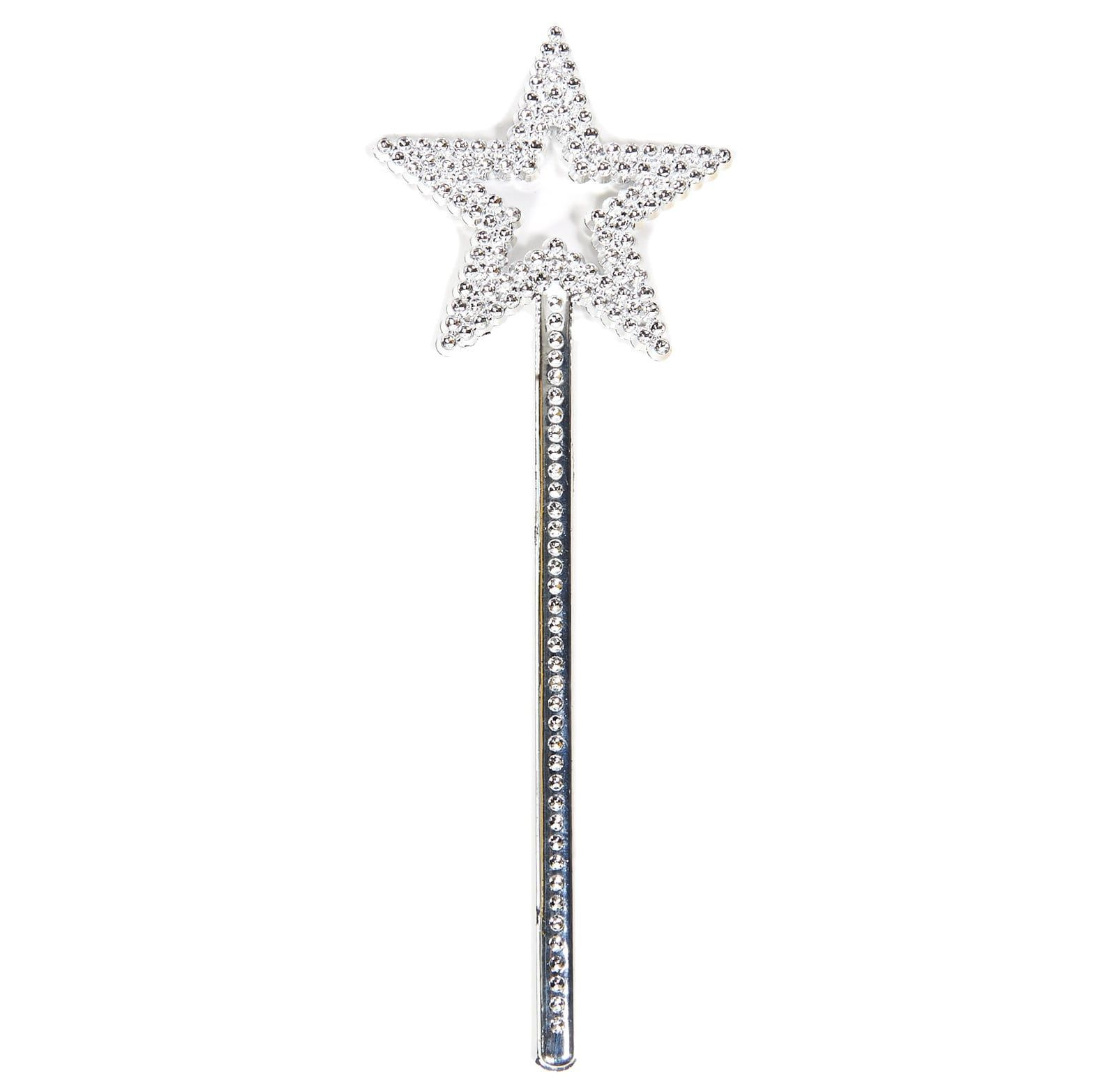 Sequin Star Wand Magic Fairy Wand Birthday Party Princess Fancy Dress Silver