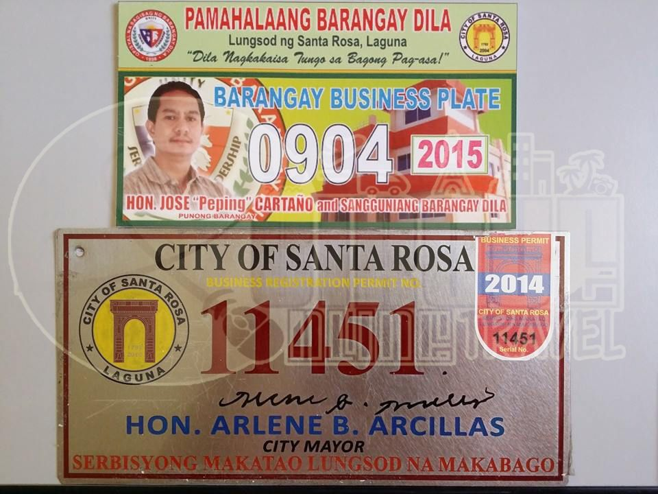 barangay permit and business permit plates.