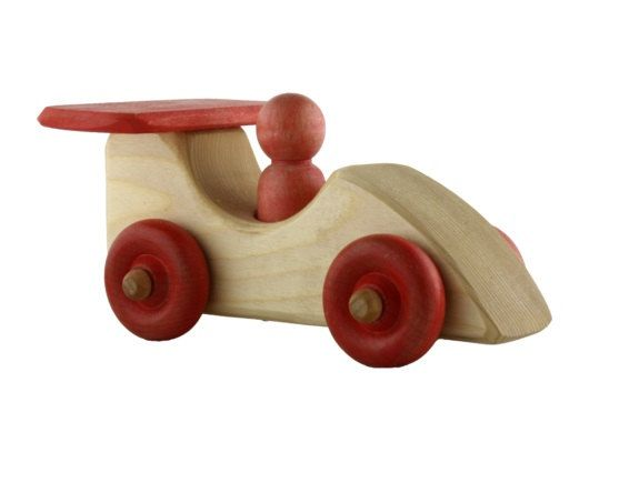 Natural wooden race car with red parts by aewoodentoys on Etsy