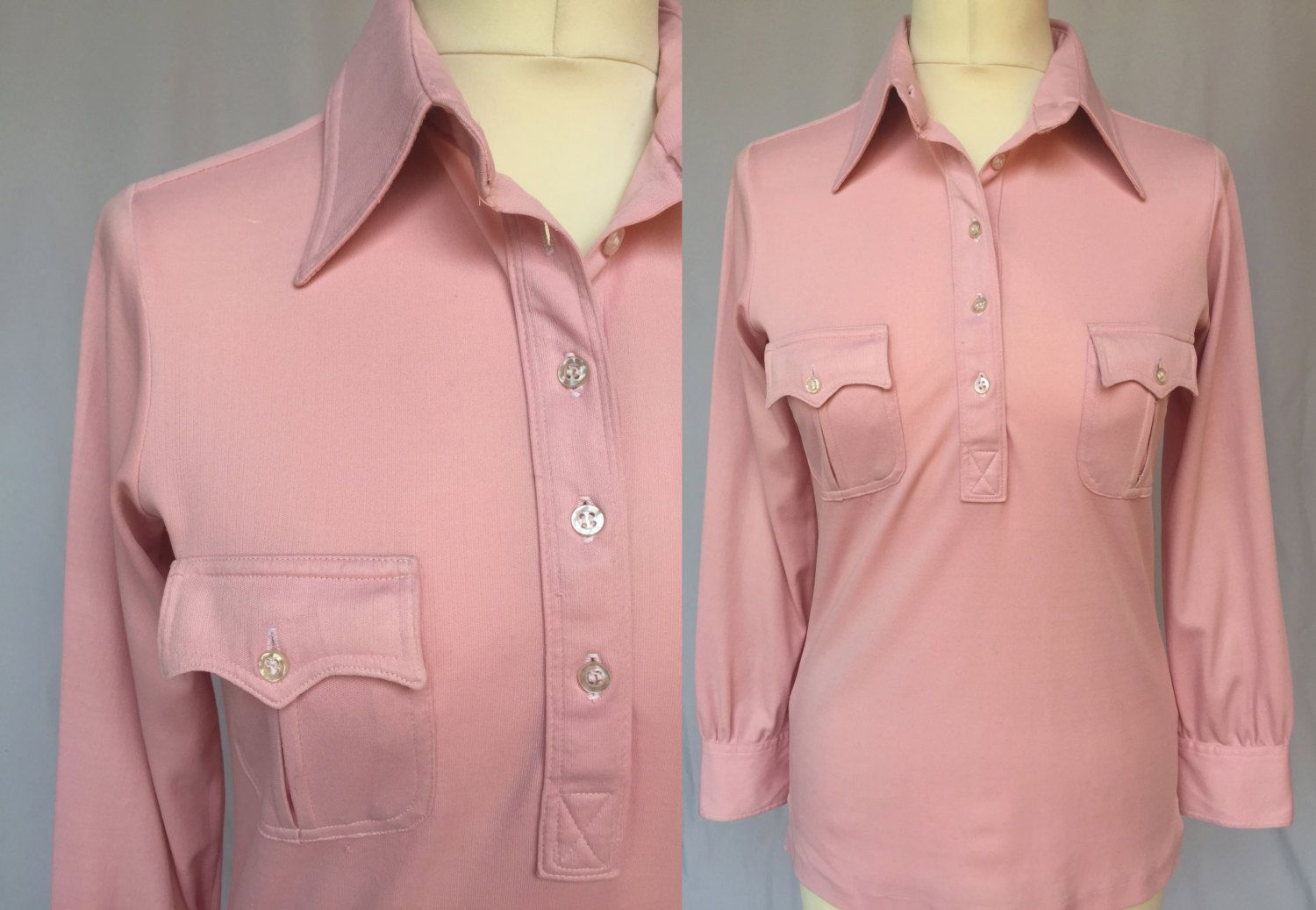 48f9735afc8e 70 s pink tunic dagger collar with pockets