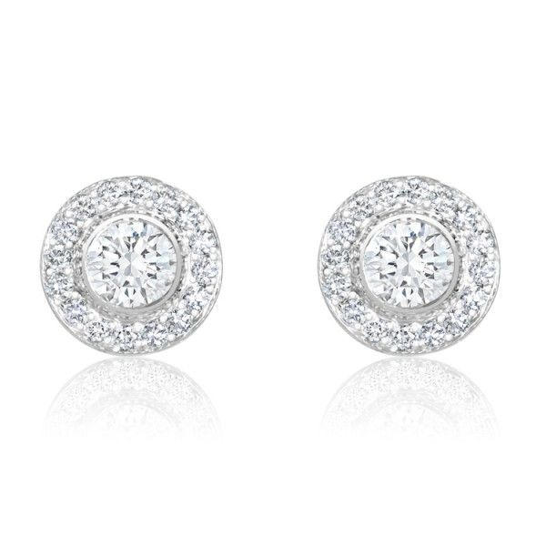 Gemesis Halo Stud Lab Created Diamond Earrings Diamonds