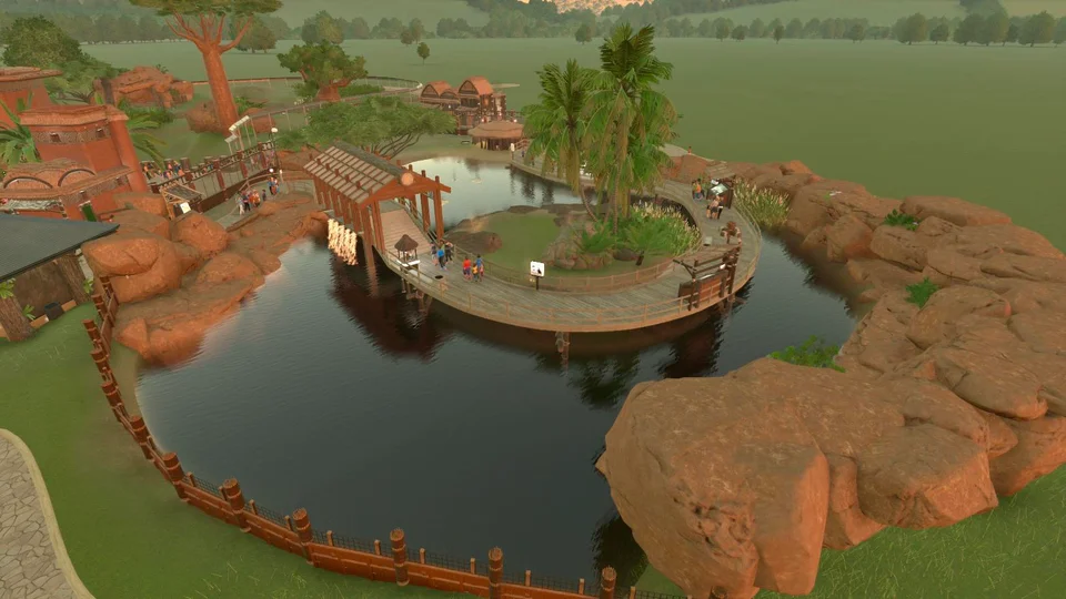 I M Super Proud Of My Walkthrough Flamingo Habitat The Flamingos Did Not Want To Be In The Screenshot Though Lol Planetzoo Zoo Architecture Zoo Zoo Park