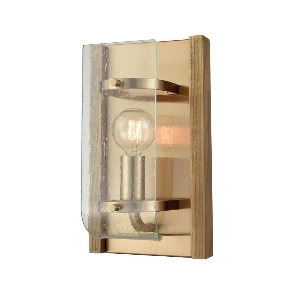 Titan lighting vindalia light satin brass with wood slats and