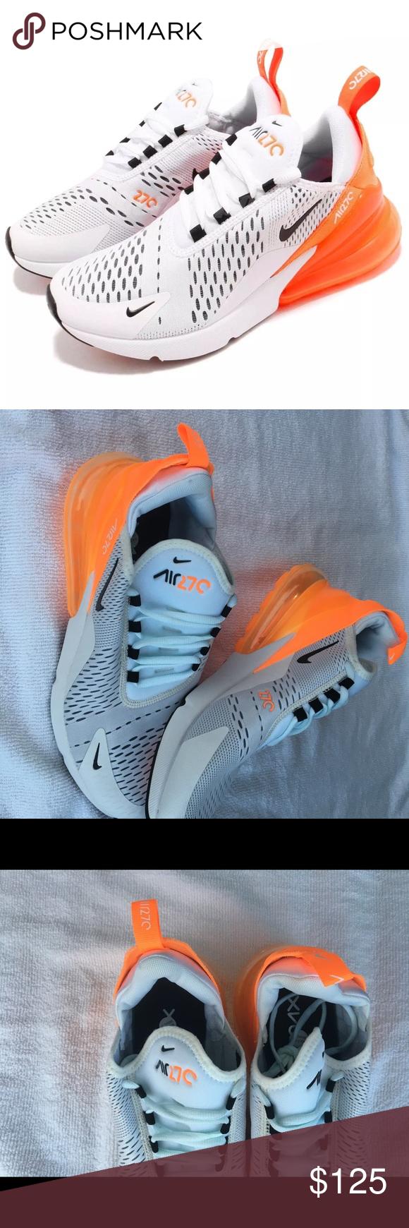 Nike Air Max 270 Women/'s Shoes AH6789-104 White//Black-Total Orange