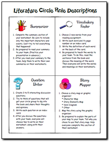 Printables Literature Circles Roles Worksheets 1000 images about literature circles on pinterest reading comprehension and open court reading