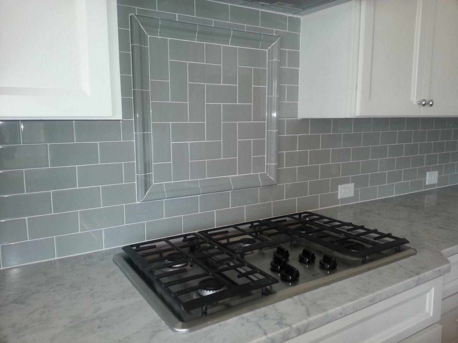 gray-subway-tile-backsplash-herringbone-inset | {nest} | Pinterest
