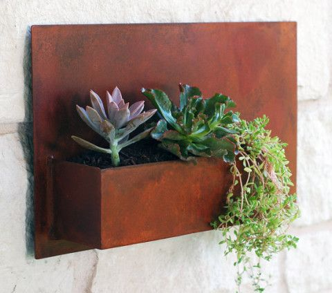 "Metal Wall Planter succulent hanging planter with rustic patina - 20""x12"" modern"