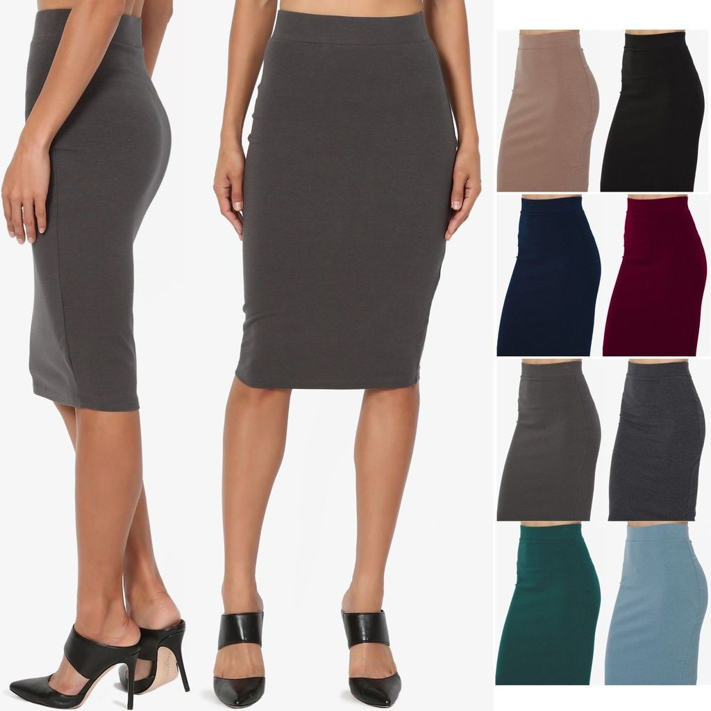 9bf9b52215263f The Mogan S~3XL Comfort Stretch Cotton Elastic High Waist Knee Midi Pencil  Skirt