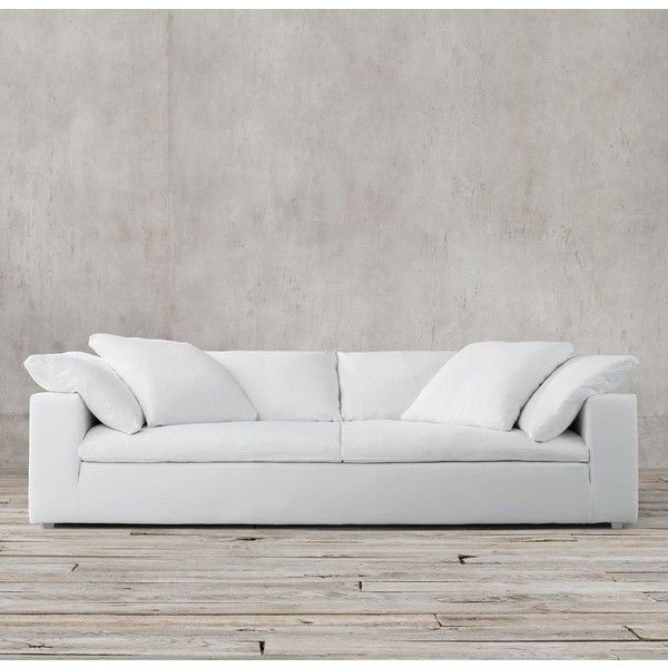 Petite Belgian Track Arm Slipcovered Sofa 36 Inch Table 9' Cloud Two-seat-cushion ($4,045) Liked On ...