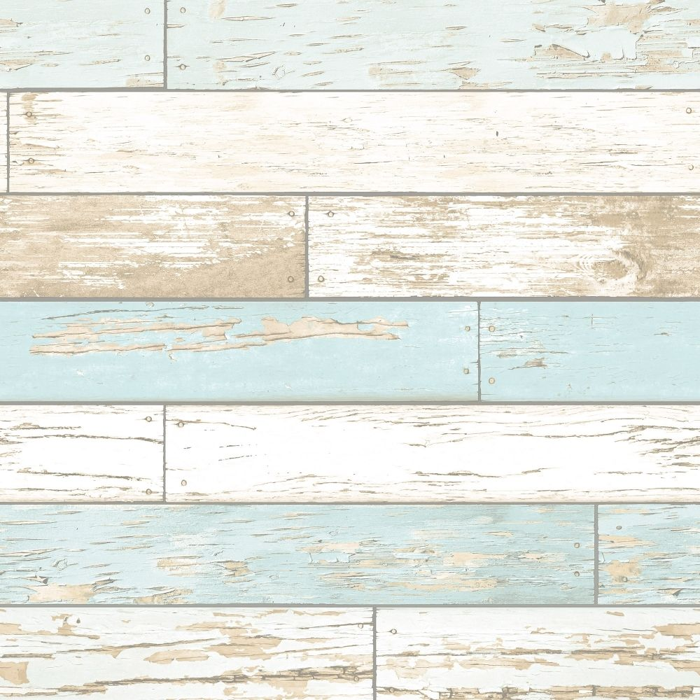 Best Rustic Wooden Plank Wallpaper Natural White Teal 400 x 300