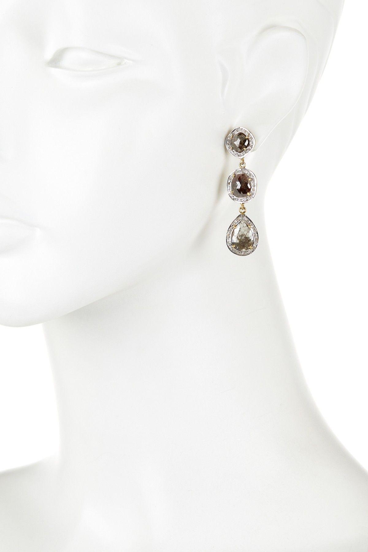 Natural Sliced Diamond Triple Drop Earring 9 01 ctw on HauteLook