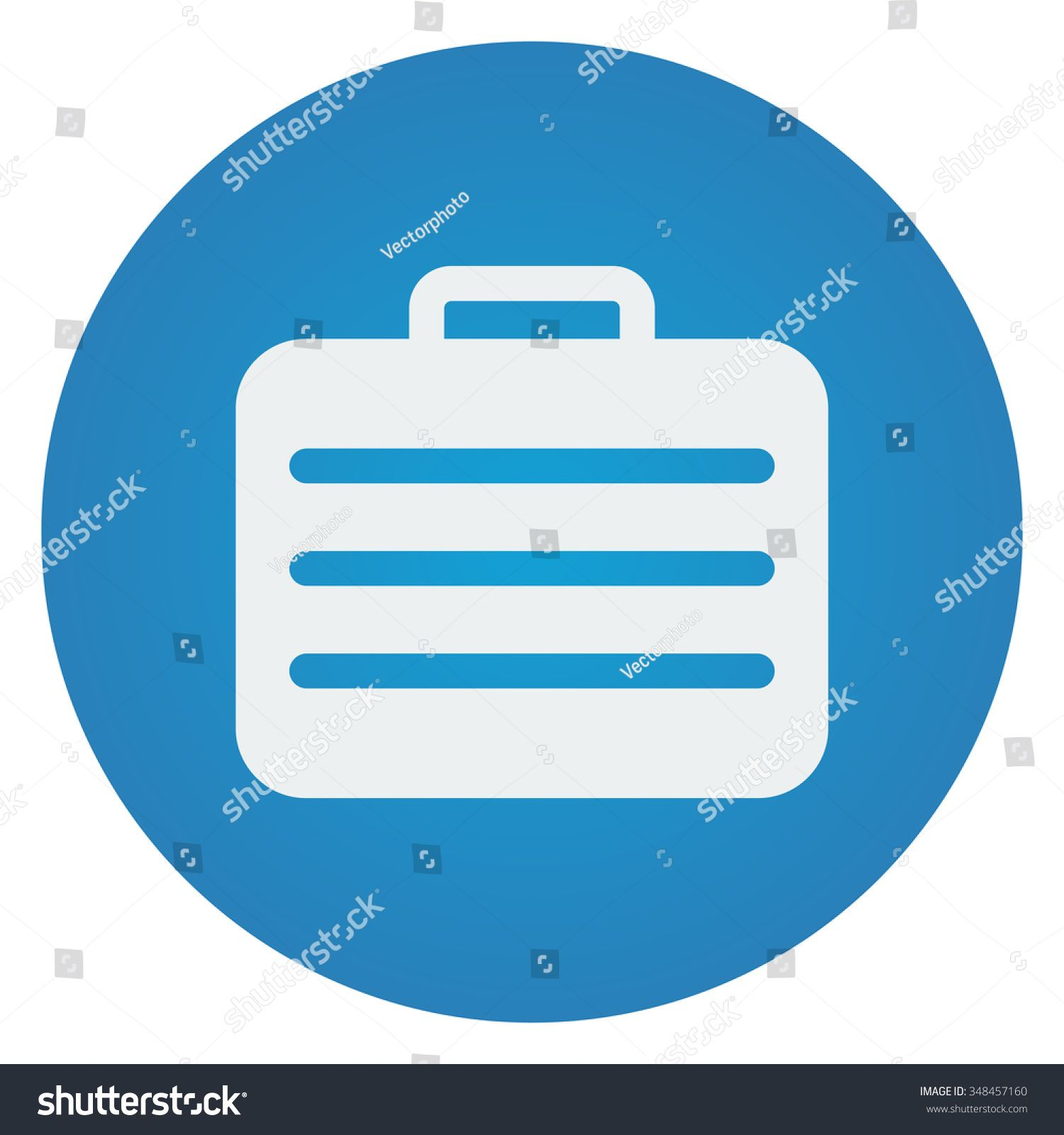 Flat white Travel Case icon on blue circle Sponsored ,