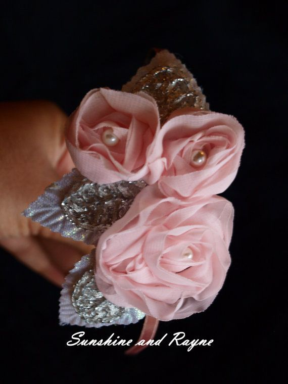 Lovely Blush Pink Triple Chiffon Rose Headband w/ Silver, Iridescent Leaves - Flower Girl, Bridal, Wedding