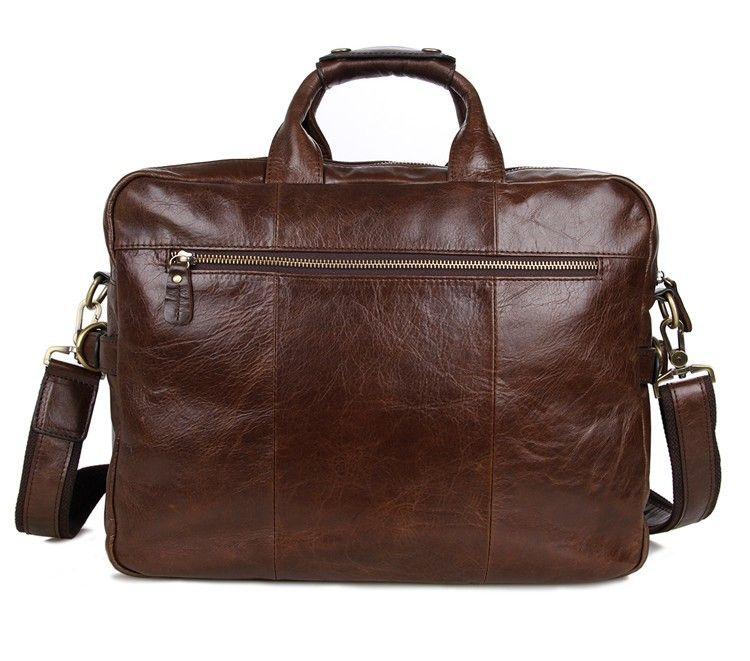 Davos Handmade Leather Laptop Messenger Briefcase - Dark Brown