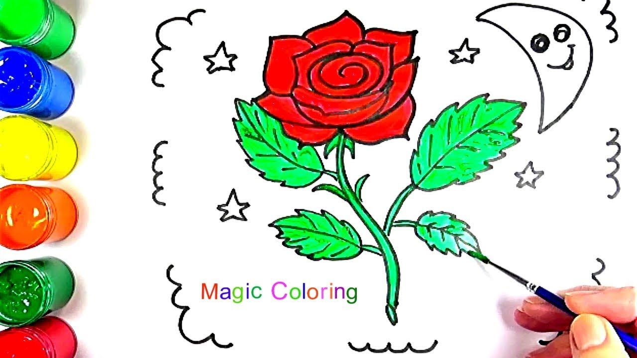 Red Rose Painting How to Draw and Color a Rose Simple Way | Coloring ...