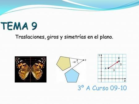 Tema 9 Traslaciones Giros Y Simetrías En El Plano 3º A Curso 09 10 Planos Ejemplos De Movimiento Giros