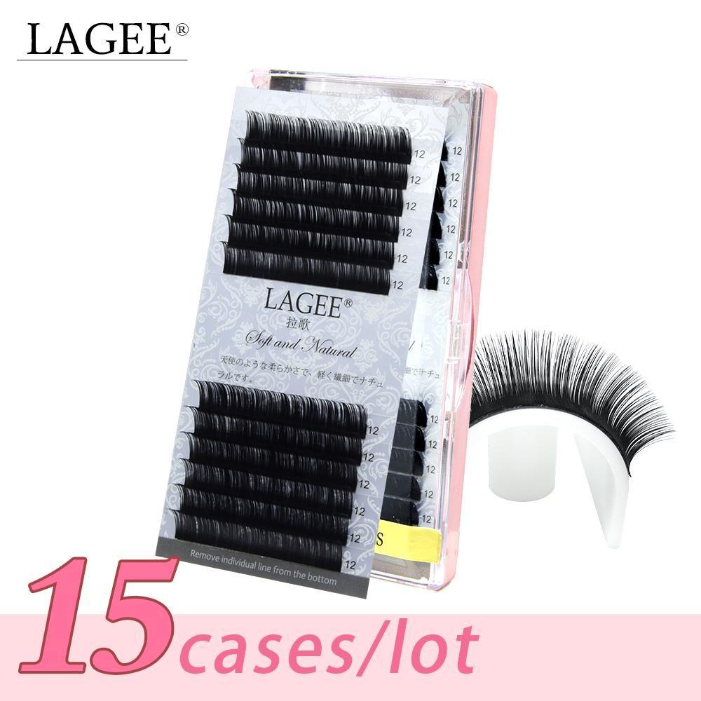 90a427747be LAGEE 15Trays /set high-quality faux mink eyelash extensions fake eyelashes  individual eyelash soft and nature eyelashes glossy.