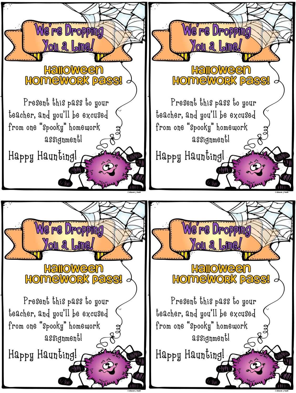 Homework Pass Halloween Freebie