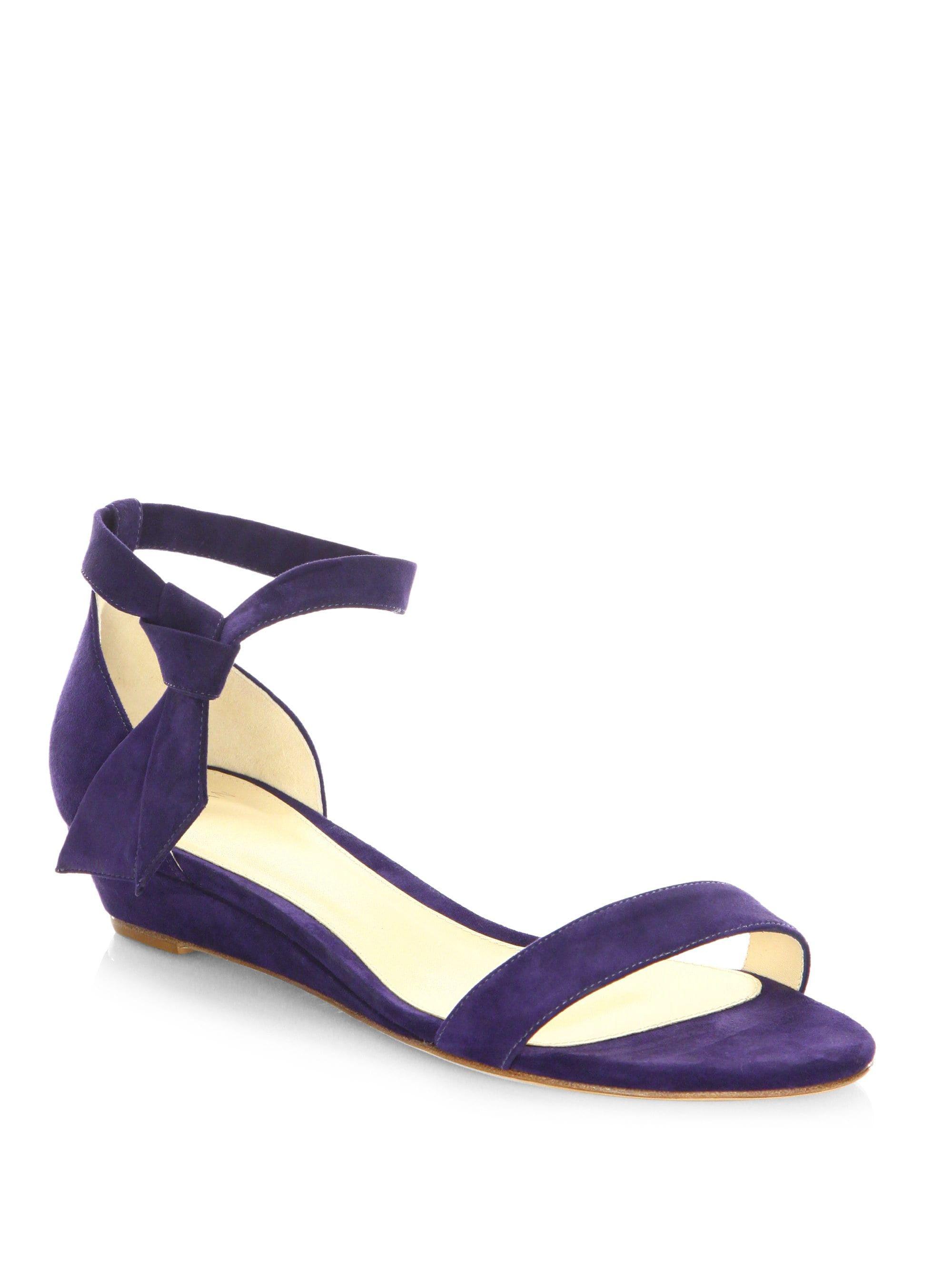 cb0fced9513b Alexandre Birman Clarita Suede Ankle-Tie Demi-Wedge Sandals - Bali 7.5