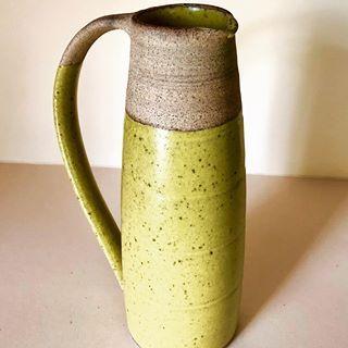 Matt yellow glazed Stoneware Jug#instapottery #stoneware #potterslife #pottery #potsofinstagram #pottersofinstagram #jugsofinstagram #jug #ceramics #shiplake #henleyonthames #oxfordshire #wheelthrown #potteryglazes