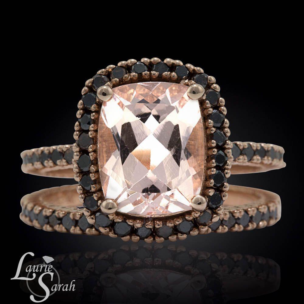 14k Rose Gold Black Diamond Wedding Set, Morganite Engagement Ring, Cushion  Cut Morganite Wedding