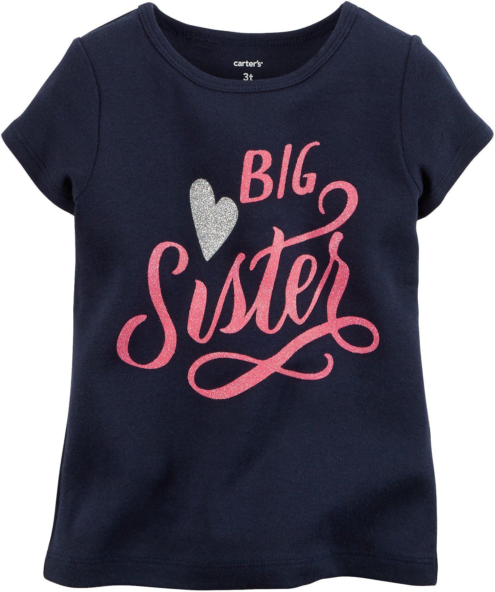 514bbd5e9 Carters Little Girls Big Sister T-Shirt 6 Blue | Shhh we are having ...