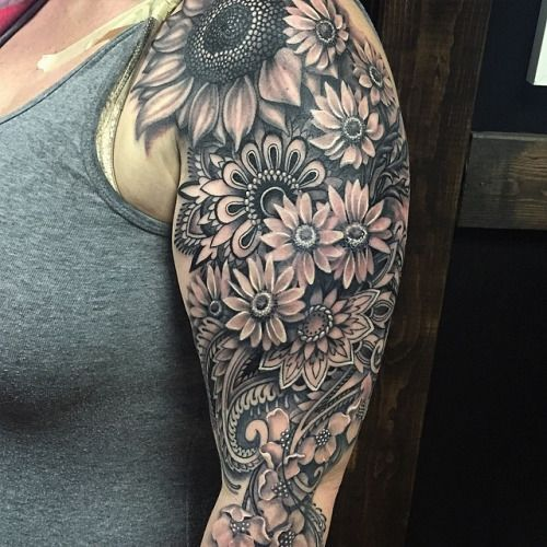 Sunflower And Daisy Tattoo Google Search Mandala Tattoo Sleeve Tattoo Sleeve Designs Sunflower Tattoo Shoulder