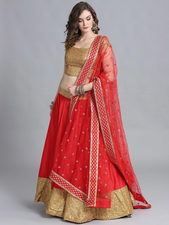 b78cfe6ea Bollywood Vogue Red   Golden Made To Measure Umbrella Lehenga   Blouse With  Dupatta  Lehenga  Red  Golden  Wedding