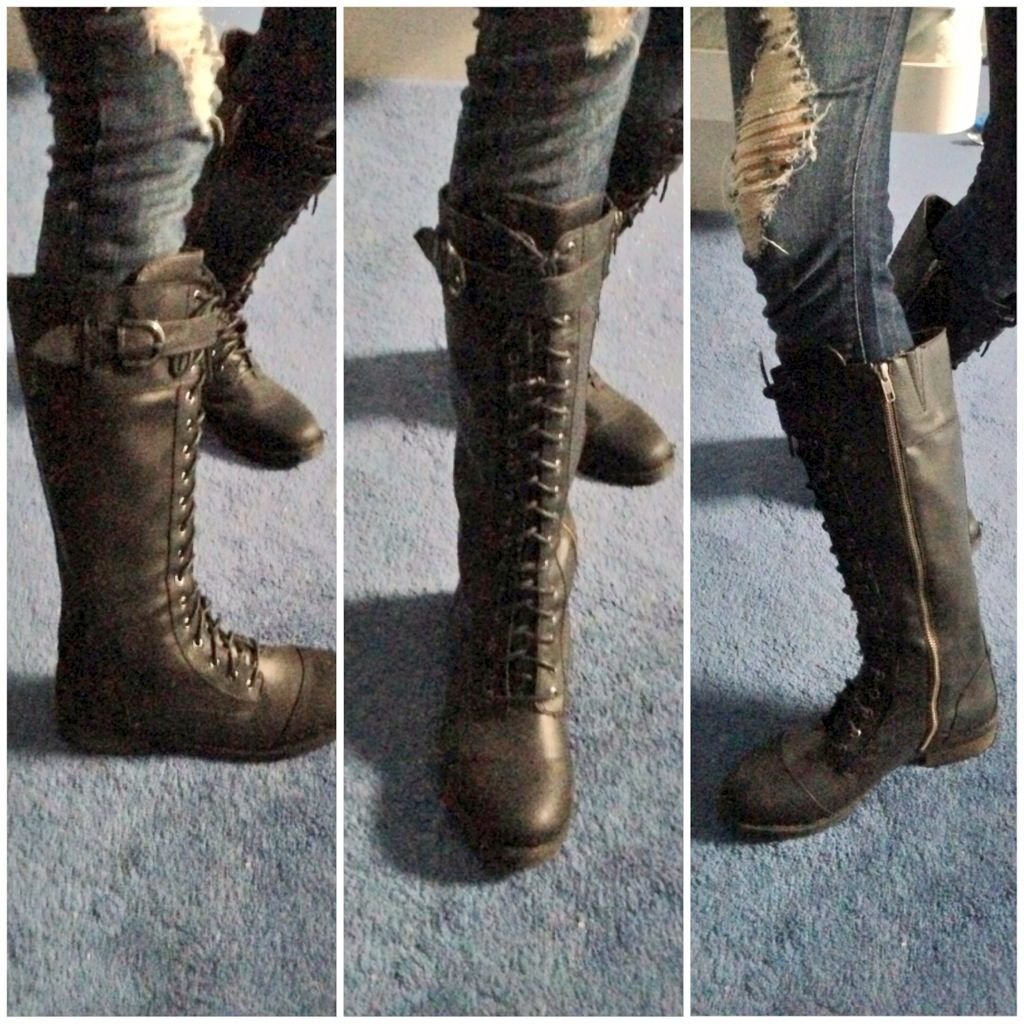 In love with my new tall black combat boots | My ootd's ...