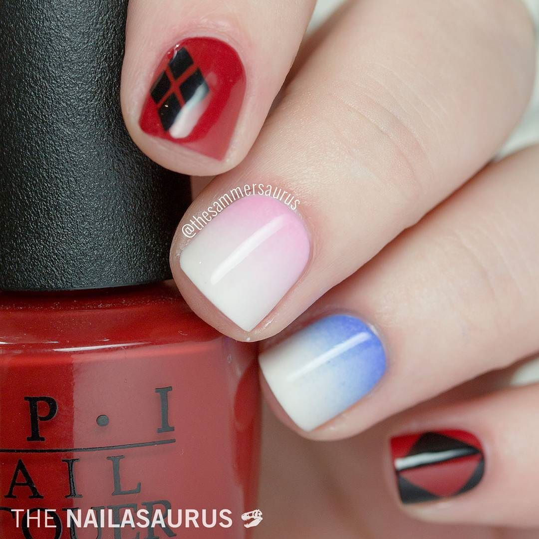 thesammersaurus | Did you guys see the new Suicide Squad trailer set to a soundtrack of Queen?!?! Excitement level is Here's some nail art inspired by the old and new Harley Quinn. Full details on thenailasaurus.com (link in profile)