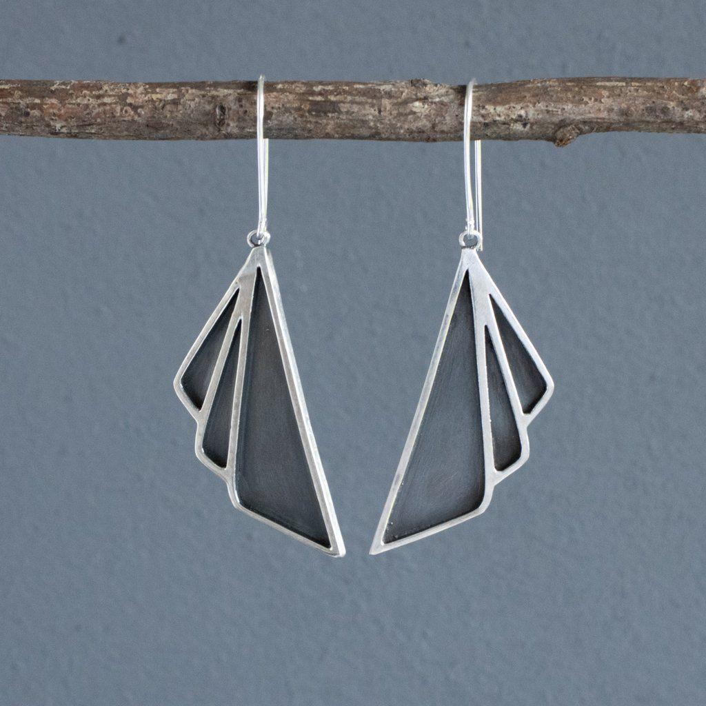 Art Deco Oxidised Silver Earrings